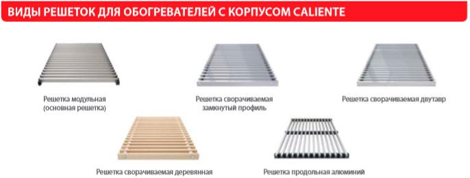 Решетки для напольных конвекторов Caliente