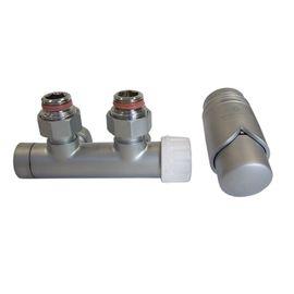 Узел нижнего подключения с термоголовкой Schlosser DUO-PLEX (Сатин, Прямой), Вид подключения: Прямой, Цвет: Сатин