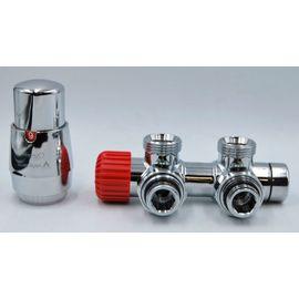 Комплект термостатический с термоголовкой Twins (Хром, Угловой), Цвет: Хром, Модификация: С Термоголовкой, Доп. свойство: Левый