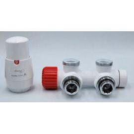 Комплект термостатический с термоголовкой Twins (Белый, Угловой), Цвет: Белый, Модификация: С Термоголовкой, Доп. свойство: Левый