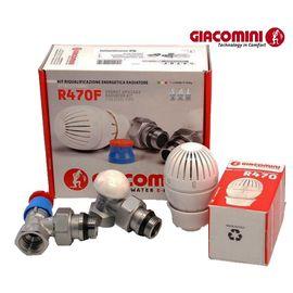 Комплект радіаторний з термоголовкою Giacomini R470FX003 (Кутовий), Вид підключення: Кутовий, Різьба: M30x1.5, Властивість: С Термоголовкой