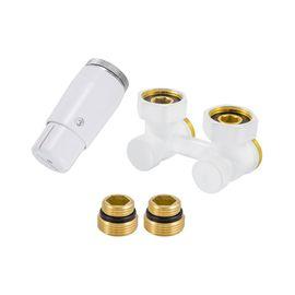 Schlosser 600800056 Комплект радиаторный с термоголовкой Mini, Вид подключения: Угловой, Цвет: Белый